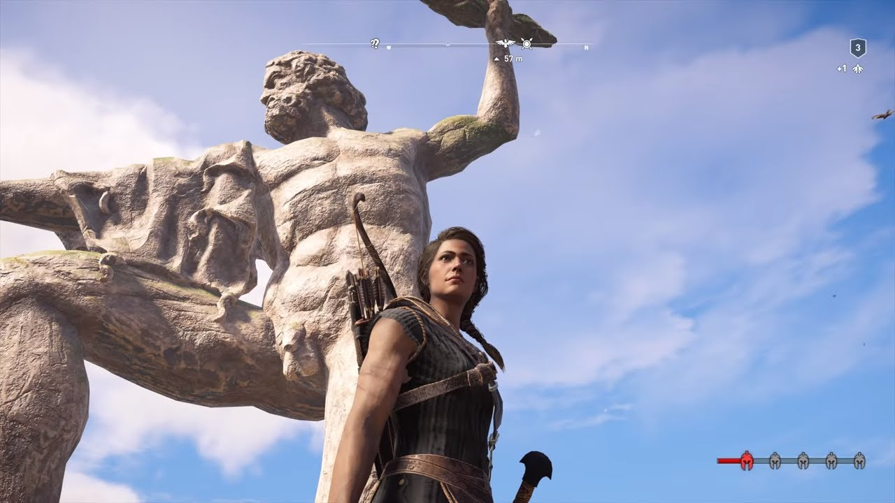 Assassin S Creed Odyssey Climbing On Lightning Zeus Statue