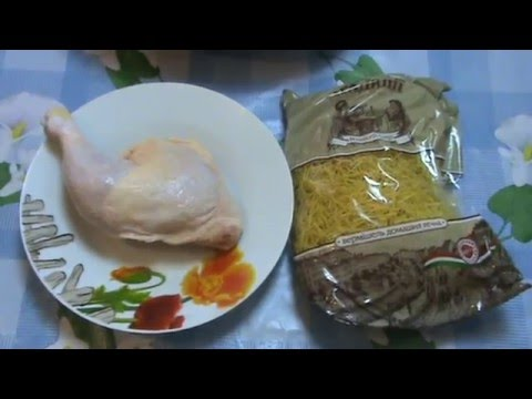 Вермишелевый (макаронный) суп без зажарки на курином бульоне .