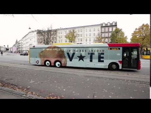 Anti Trump campaign on a bus in Denmark reminds Americans abroad to vote.