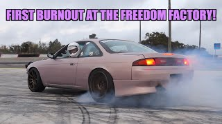 First Freedom Factory Burnout In The Twin Turbo S14!