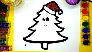 💜 Glitter Christmas Tree Painting Pages for Kids, Coloring Tree with Paint and Glitter Colors 💜