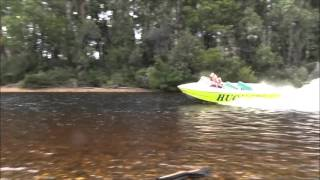 Jet boat over waterfall rapids