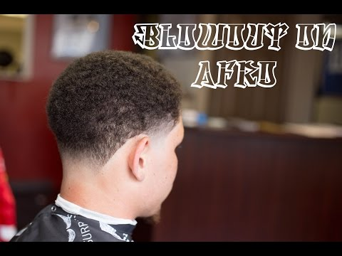 How To Fade: Blowout on Afro Haircut with subtitles