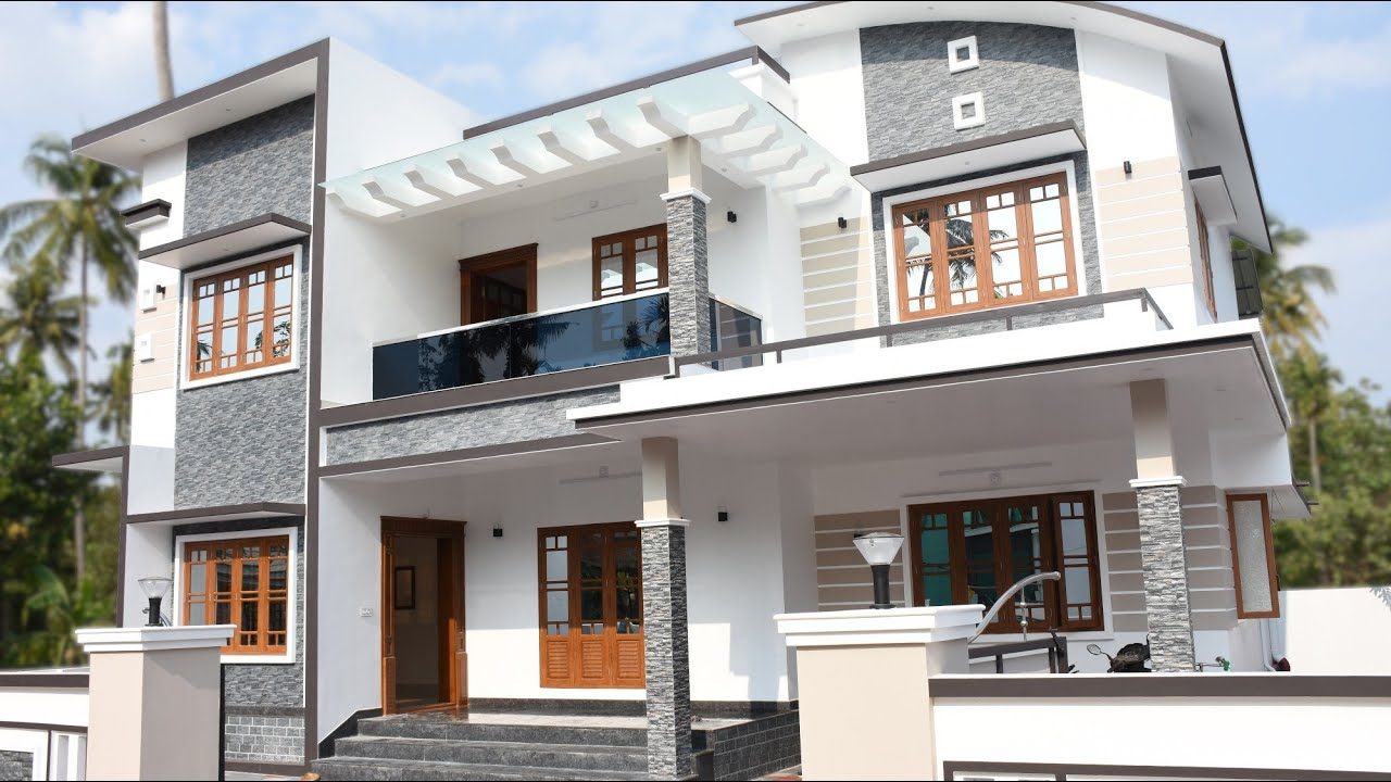 2400 Sq Ft 4 Bhk Contemporary Style Double Floor House At 7 5 Cent Plot Home Pictures