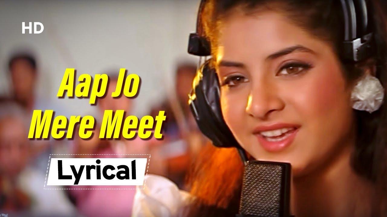 Remembering Divya Bharti Special | Aap Jo Mere Meet Na With Lyrics |  Geet (1992) | Lata Mangeshkar