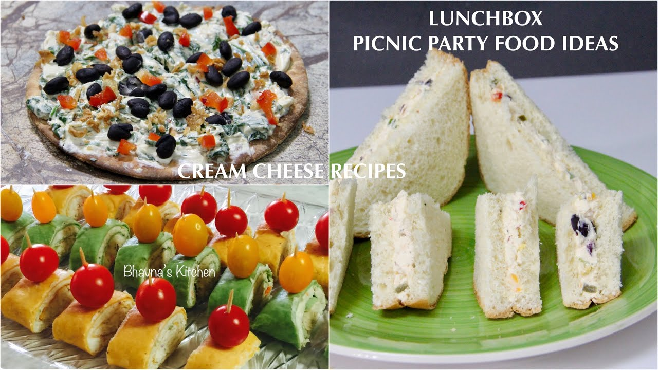 Lunchbox Picnic Party Food Ideas Cream Cheese Sandwich Pizza