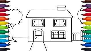 How to draw a simple house - coloring pages