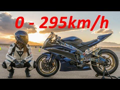 Yamaha YZF-R6 - Acceleration 0-295km/h & Startup & Exhaust Sound & Burnout & Wheelie & TOP Speed