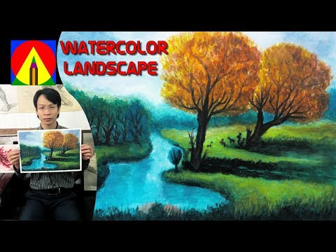 Watercolor Landscape Painting Lesson – Morning by the River