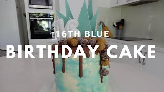 16th Blue Themed Birthday Cake
