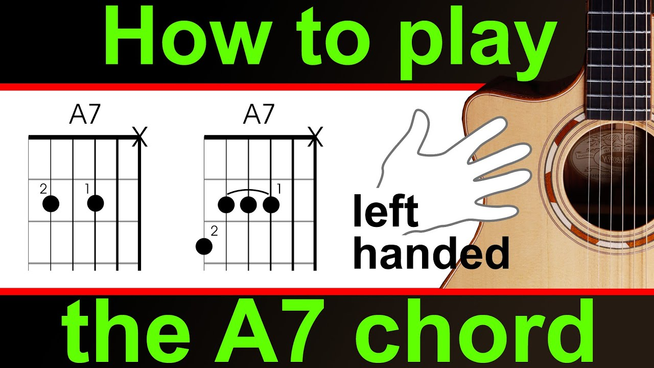 Left Handed How To Play The A Dominant Seven A7 Guitar Lesson