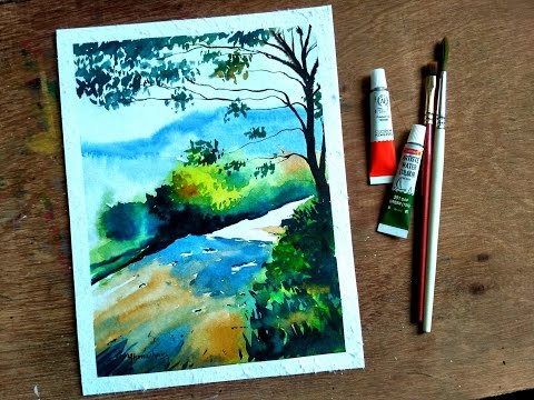 WATERCOLOR PAINTING Easy Tutorial landscape – HOW TO PAINT a TREE, SKY, MOUNTAIN