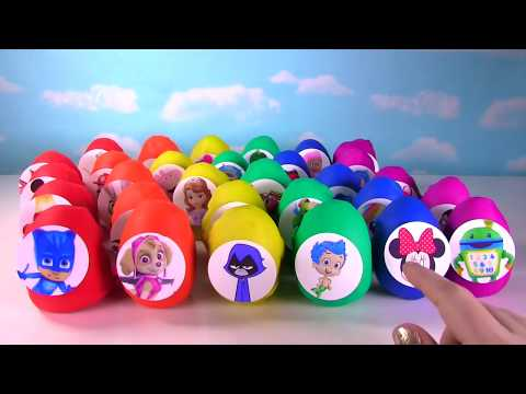 60 Toy Surprise Eggs! Play Doh and Slime Eggs with Paw Patrol, PJ Masks, Peppa Pig!