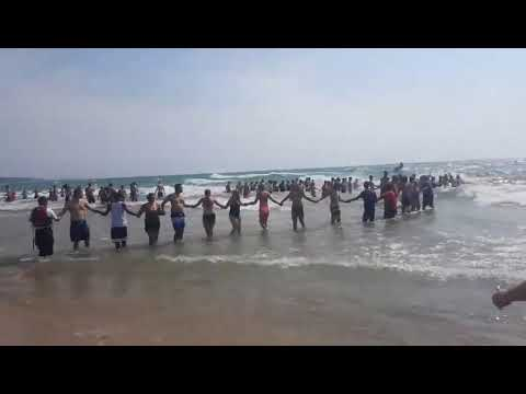 Human chain wades through Lake Michigan