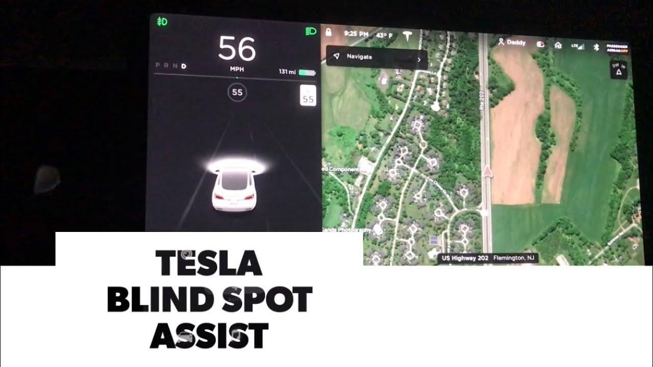 TESLA Model 3 Blind Spot Assist v10 - YouTube