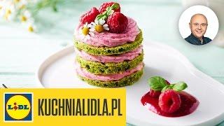 Biszkopt szpinakowo-bazyliowy z musem malinowo-jogurtowym - Paweł Małecki - Przepisy Kuchni Lidla