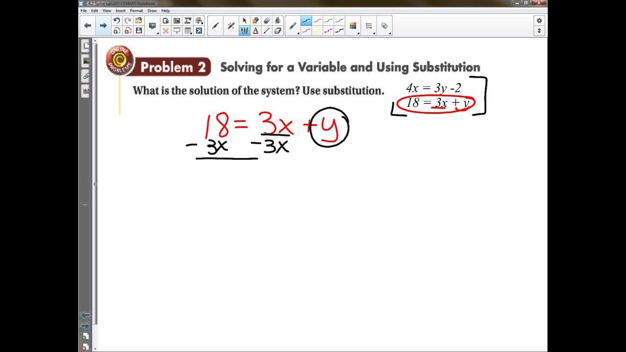 Worksheets Algebra 1 Substitution Worksheet algebra 1 lesson 6 2 solving by substitution youtube substitution