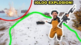 BLOWING UP the GIANT IGLOO in My BACKYARD!!! (RIP)