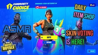 ASMR   Fortnite NEW Vote For Your Skin Feature! Item Shop Update 🎮🎧Relaxing Whispering😴💤