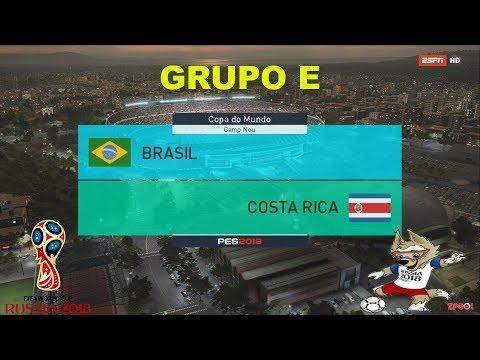 BRASIL VS COSTA RICA | PES 2018 | GRUPO E # 2 | FIFA World Cup | OPTION FILE broadcast camera