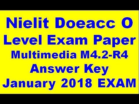 Nielit Doeacc O Level Exam Paper Multimedia M4 2-R4 Answer Key January 2018  EXAM