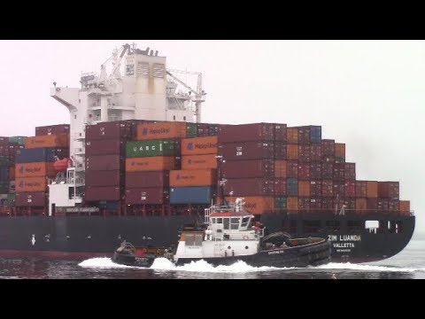 Container Ship ZIM LUANDA Inbound into Port of Halifax - Hal