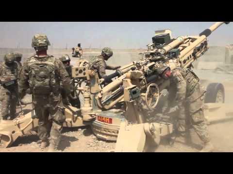 Airborne Field Artillery Regiment Fires Howitzer at Forward Operating Base Shank
