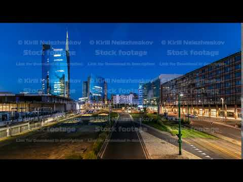 Milan skyline with modern skyscrapers in Porta Nuova business district day to night timelapse in