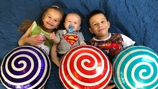Kids play with Little BROTHER and CANDY BALLOONS Funny video for kids JoyJoy Lika