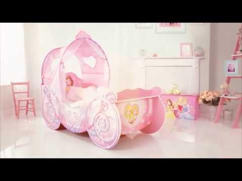 Lit disney carrosse de princesses avec lumi res youtube - Tour de lit princesse disney ...