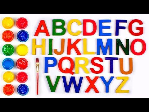 Раскрашиваем английские буквы красками. Учим английские слова. |