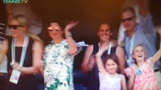 Federer waves to his family after winning Indian Wells 2017