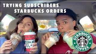 TRYING OUR SUBSCRIBERS STARBUCKS DRINKS