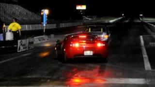 2010 Tesla Roadster Sport (right lane) vs 2008 Tesla Roadster