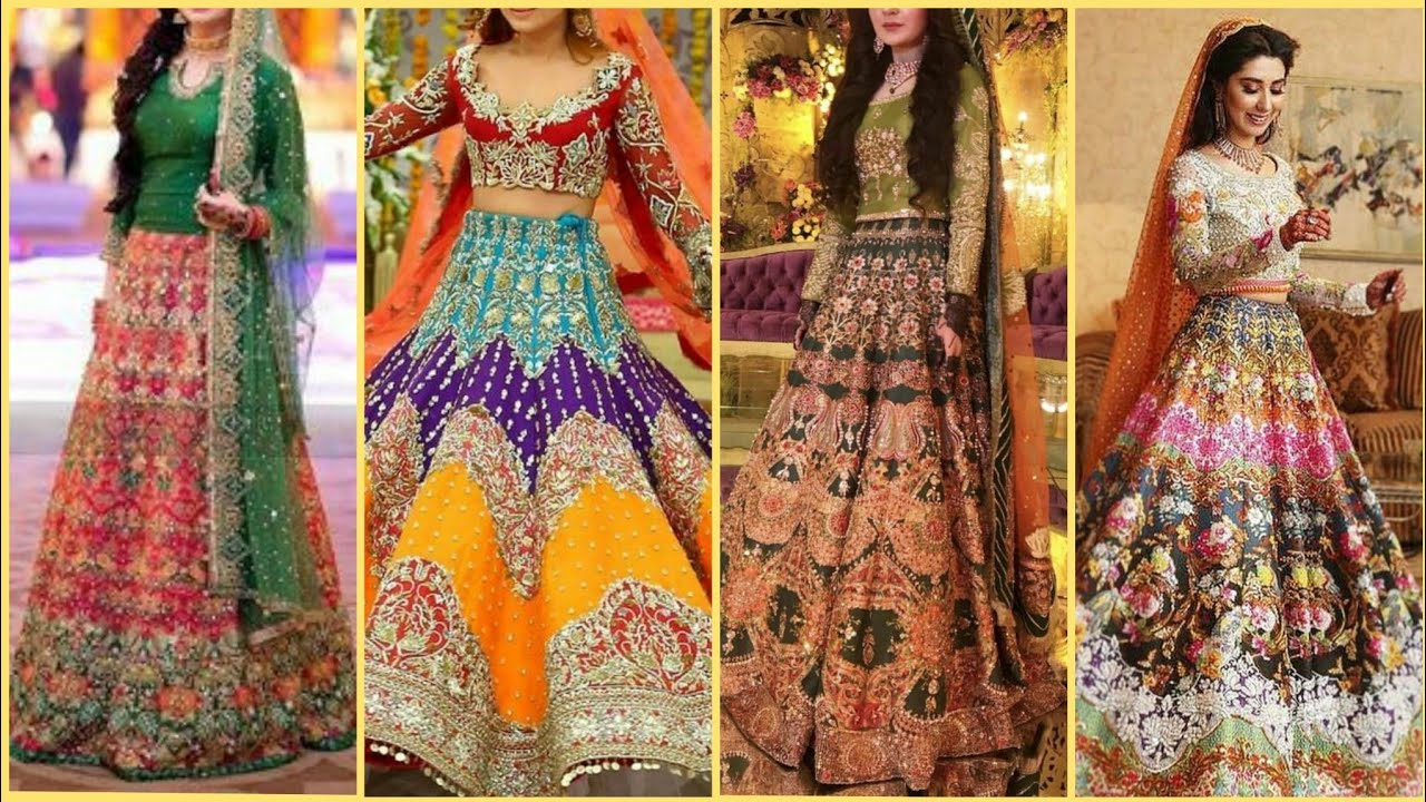 Top Beautiful Mehndi Bridal Dresses/Sharara Designs