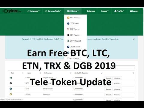 Earn Free BTC, LTC, ETN, TRX & DGB Coins 2019|| Tele Token Update
