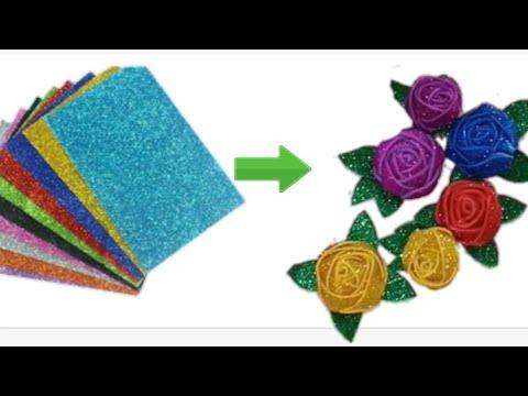 Diy Rose flower from Glitter Paper    Glitter foam sheet craft ideas
