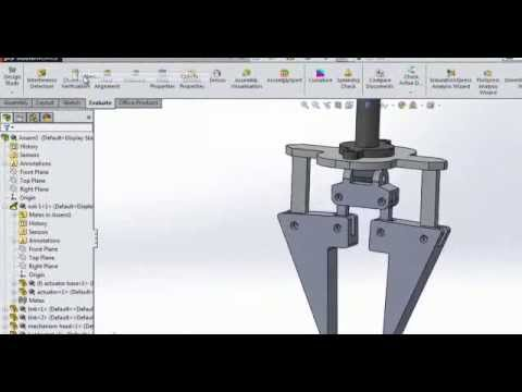 Robotics Solidworks Gripper Non Parallel Jaws