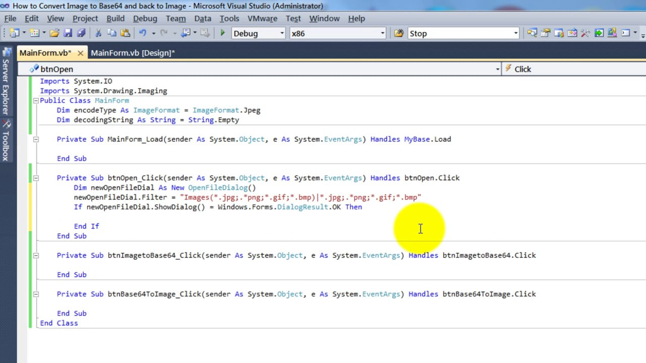 Convert Image to Base64 format and Vice Versa in Visual Basic NET