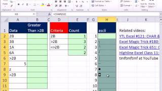 Excel Magic Trick 803: COUNTIF Function Criteria & Comparative Operator Trouble & ASCII Characters