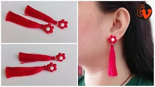 How to make trendy earrings / Silk thread tassel earrings / Beaded Earrings / Tutorial