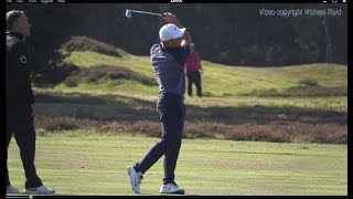 Francesco Molinari golf swing mid-Iron (face-on view), Sky Sports British Masters, October 2018.