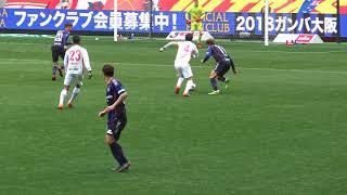 ファン・ウィジョのシュートをファインセーブするランゲラック 18.2.24 Jリーグ ガンバ大阪2-3名古屋グランパス