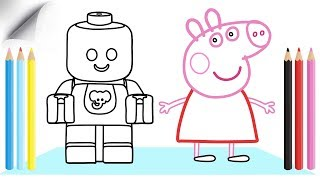 Piggy and Child Drawing Coloring Videos For Children | Learn Colors | Rysunki i Kolory