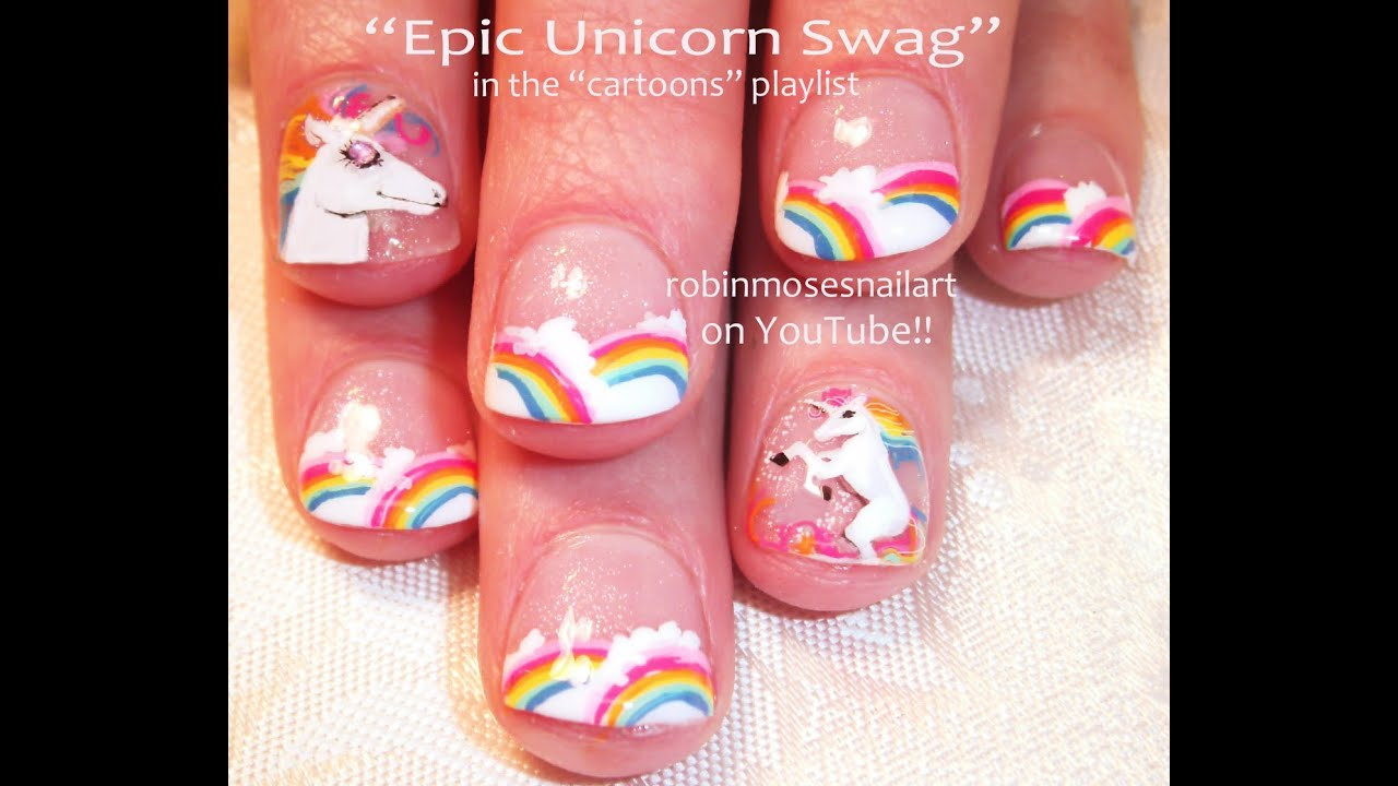 Nail Art Tutorial | Unicorns & Rainbows | Short Nail Art Design for ...