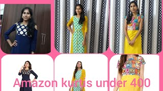 Kurtis under 400/unboxing kurtis and saree from amazon/in telugu