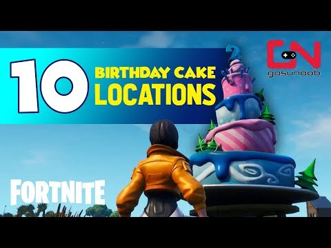 Fortnite - All 10 Birthday Cake Locations - 2nd Fortnite Birthday Challenge