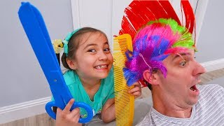 Pretend Play Hair Salon with Funny Hairstyles