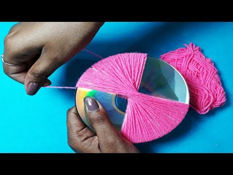 DIY Best out of waste from Wool - Reusing Old Cd & Wool - Handmade Wall Hanging