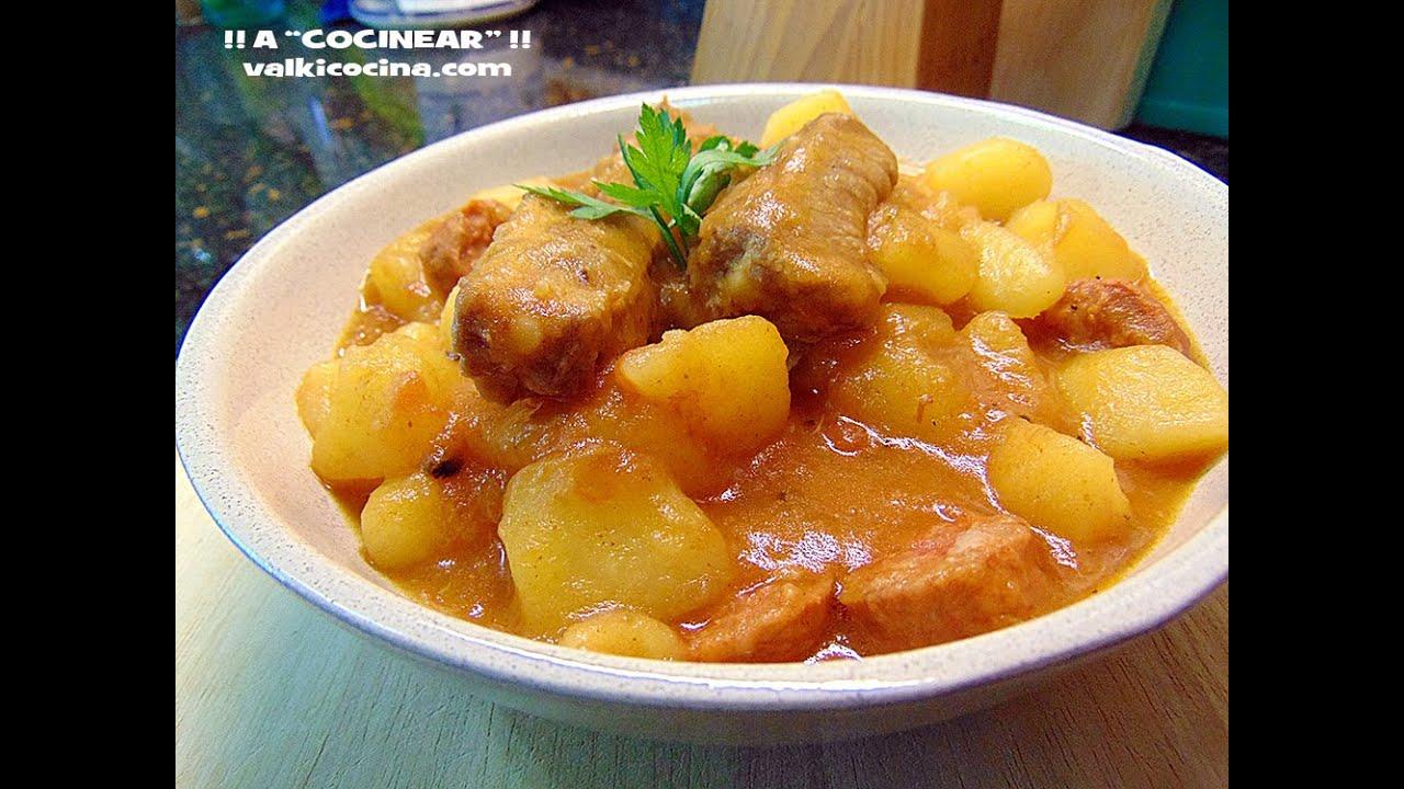 Patatas con costillas y chorizo en olla r pida youtube - Lentejas con costillas y patatas ...